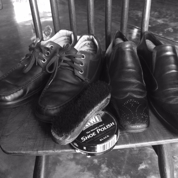 Did you father teach you how to polish your shoes too?