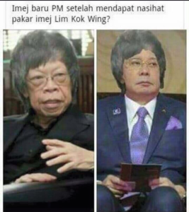 Najib's detractors are begging to have some fun with his appointment of Lim as a PR guru, as seen in this meme over Twitter