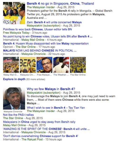 Just Google Bersih4+Chinese+Malay and you will see how obsessed with race Malaysians have become