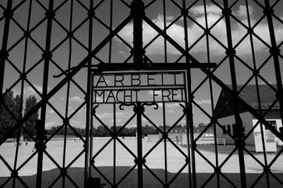 """The iron gate into Dachau with the slogan """"Work Will Set You Free"""". The Nazis excelled in mocking and insulting their prisoners."""